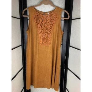 Dresses & Skirts - Suede Mustard Lace Sleeveless Top Dress Medium
